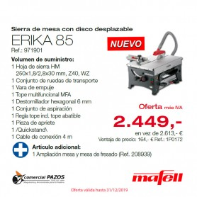 Sierra de mesa con disco desplazable ERIKA 85 Mafell - PROMOCIÓN OTOÑO 2019