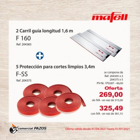 Carril guía F 160 + Protección contra virutas F-SS Mafell - Promoción 1P0287