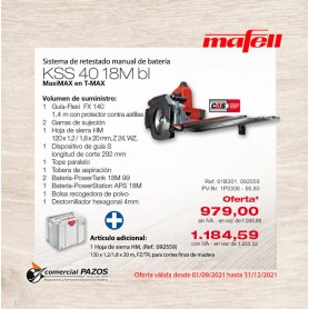 Sistema de retestado manual de batería KSS 40 18M bl en T-MAX  - 1P0306 - Promoción Mafell