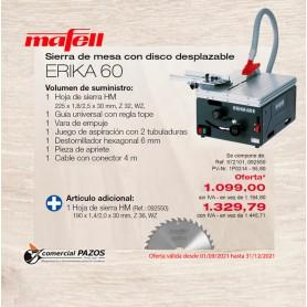 Sierra de mesa con disco desplazable ERIKA 60 - 1P0314 - Promoción Mafell